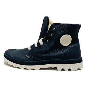 NEW-IN-BOX-PALLADIUM-Blanc-Hi-Leather-Unisex-Indigo-White-Lace-Up-Hiking-Boots