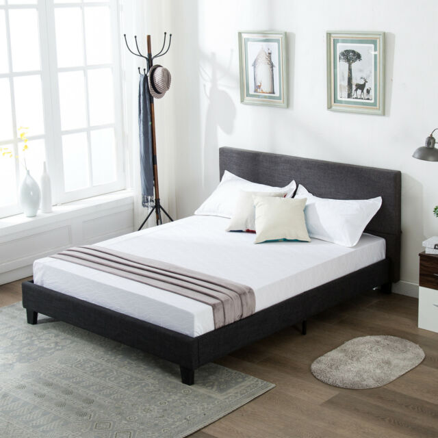 Upholstered Headboard Tufted Button Full Size Bed Bedroom