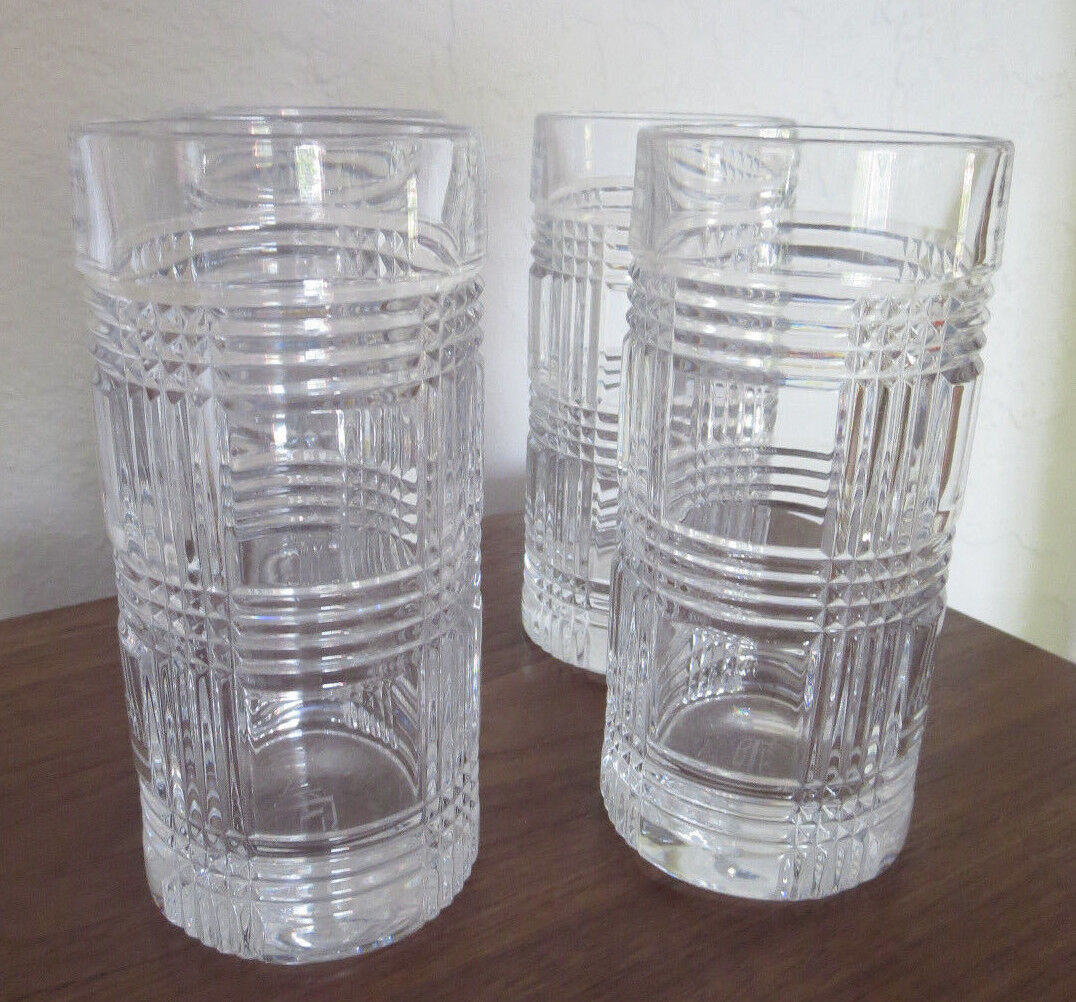 4 RALPH LAUREN Glen Plaid Lead Crystal Highball Tumblers or DOF Whiskey Glasses
