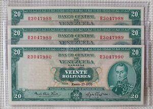 January 27 of 1970, Venezuela, 20 Bolivares Note, Consecutive, UNC, Pick 46d.