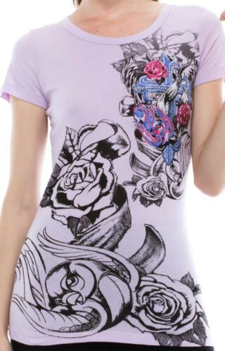 Vocal Top Size S M L XL Purple Cross Tribal Roses Crystal Bling Womens Shirt New