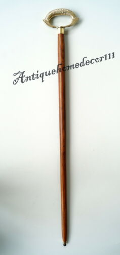 "Vintage Nautical Solid Brass Designer Handle Wooden Walking Stick 36/"" Long Item"