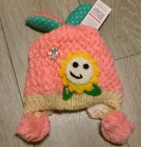 29904cda7 Details about baby wooly hat winter warm pom pom fur girls pink beanie cap  1-2 years NEW