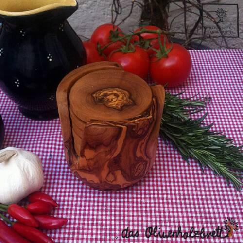 6 teiliges Untersetzer Set für Gläser Olivenholz Holz Tischschoner