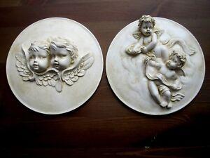 Dos-querubines-Shabby-Chic-De-Pais-Frances-doble-Muebles-Placa-moldeo