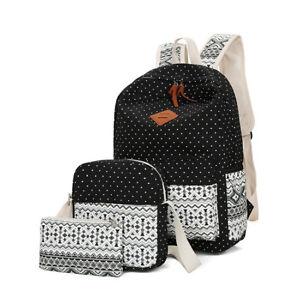 3PCS Damen Canvas Rucksack Mädchen Schultasche Reisetaschen Casual Taschen jc