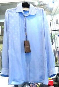 100/% Silk Light Blue Button Down Collared Blouse SM