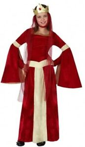 Strict Girls Red Medieval Queen Princess Carnival Fancy Dress Costume Outfit 3-12 Years