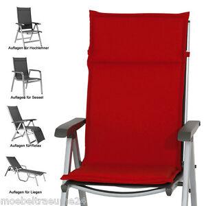 auflagen f r niederlehner hochlehner liegestuhl liegen in rot sitzkissen kissen ebay. Black Bedroom Furniture Sets. Home Design Ideas
