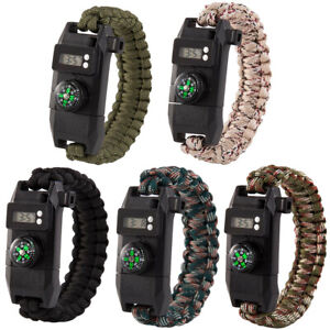 Outdoor-Survival-Camping-Emergency-Gear-Paracord-Knife-Compass-Bracelet-Watch