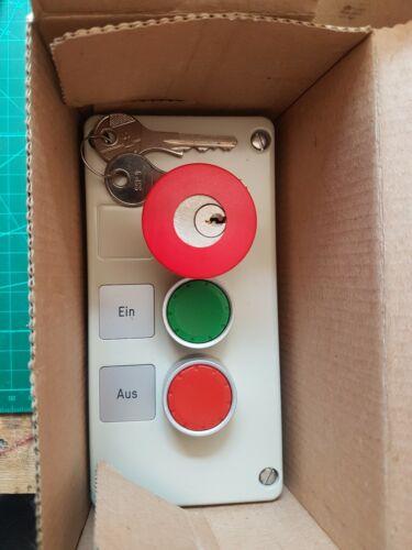 1xNC Siemens 3SB18 03-4A-Z Gekapselter Drucktaster Metall 2 fach 1xNO