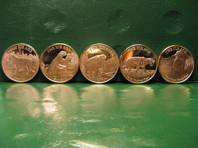 """5 Rounds /""""Woolly Mammoth/"""" Copper Round 1oz .999 Part of the ICE AGE Series"""