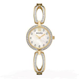 Bulova-Women-039-s-Quartz-Crystal-Accents-Gold-Tone-Case-26mm-Watch-98L225