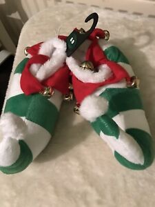 Kids-Childrens-Christmas-Elf-Slippers-With-Bells-8-9-Child-s