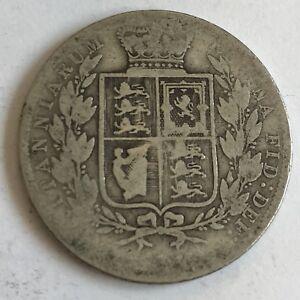 Antique-Victorian-Queen-Victoria-1883-Silver-Half-Crown-Coin