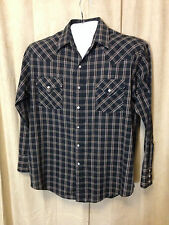 Mens Plains Western Wear Shirt Size L Black plaids Long Sleeve poly/cot