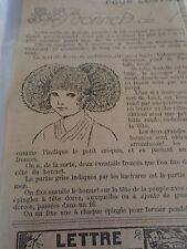 """ANCIEN PATRON POUR LA POUPEE """" BLEUETTE """" BONNET DE  HOLLANDAISE MARS 1923"""