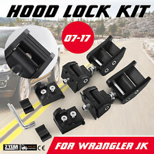2X Hood Catch Lock Bracket Latch Buckle Holder With Keys For 07-17 JEEP Wrangler