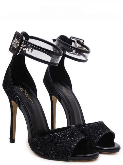 Sandali 11 cm eleganti stiletto fashion fashion fashion negro simil pelle comode 9247  el más barato
