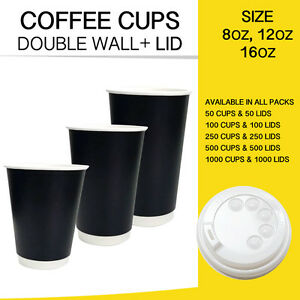Image Is Loading Disposable Coffee Cups Double Wall Black 50 100