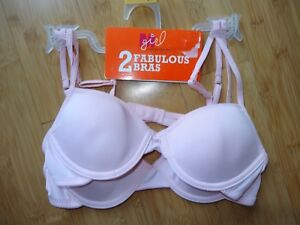4a23323dc9992 NEW Maidenform Girl 2 Fabulous Bras Size 34 A Underwire Pink