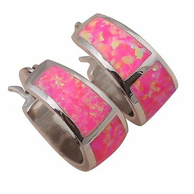 Beautiful Sterling Silver Plated Pink Fire Opal Hoop Earrings