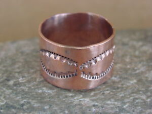 Navajo-Indian-Jewelry-Copper-Hand-Stamped-Ring-by-Douglas-Etsitty-Size-6-1-2