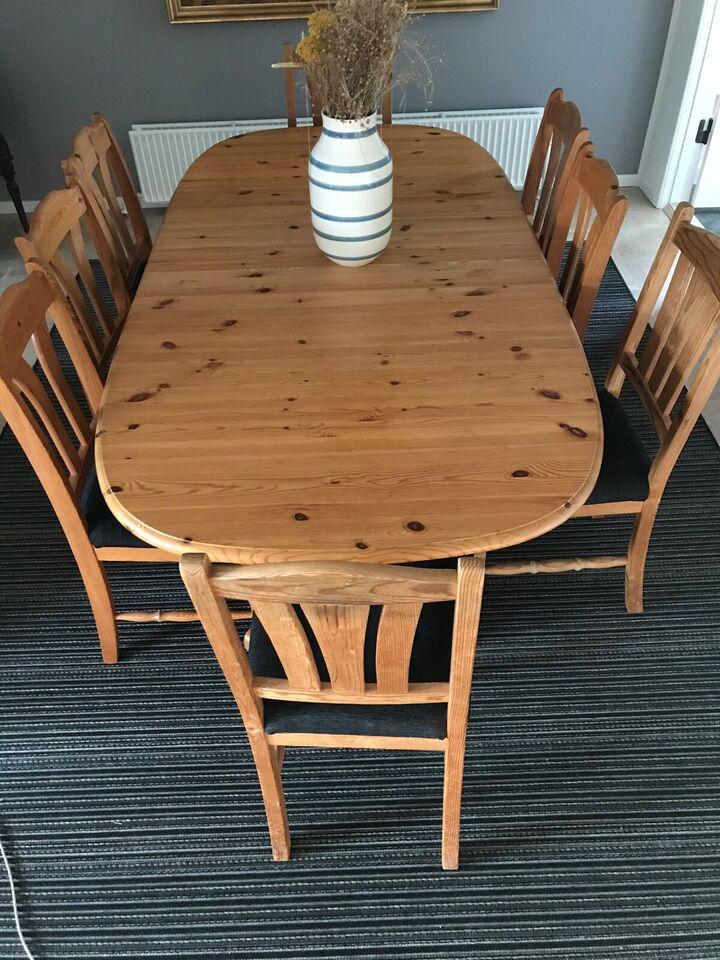 Spisebord m/stole, Massiv fyrretræ, b: 105 l: 160