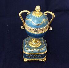 Design Toscana Katya's Imperial  Enameled Egg Trinket Box Faberge Inspired Blue