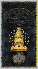 a Bee's Life Wilmington Prints Fabric Panel Gold Honey Bees Hive on Black 96401