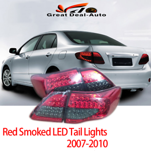 Pair-LED-Tail-Lamps-Red-Smoked-For-Toyota-Corolla-ZRE152-2007-2010-Rear-Lights
