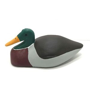 Hand-Carved-Vintage-Wood-Duck-Decoy-Green-Dark-Red-Black-amp-Gray-Desk-Hunting