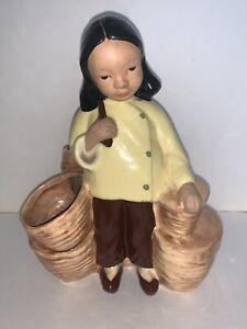 VINTAGE-MCM-McCarty-Bros-California-Pottery-Asian-Oriental-GIRL-PLANTER-VASE
