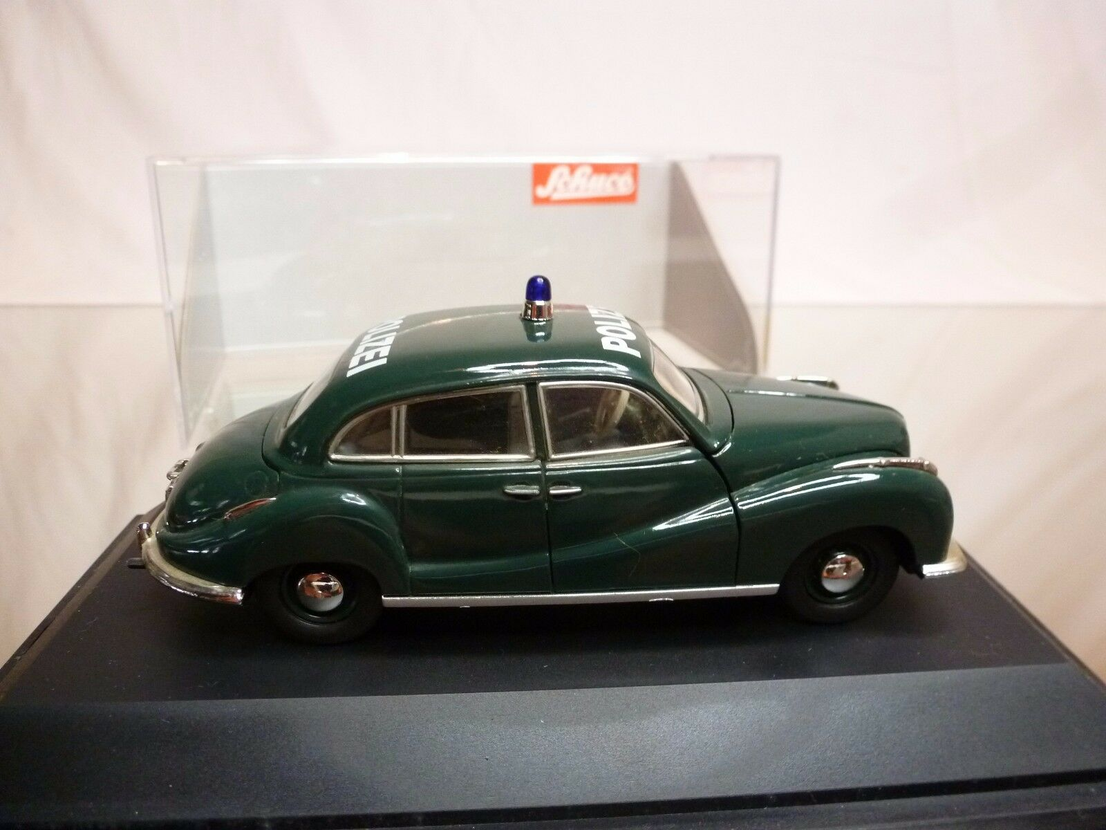 SCHUCO 81038 BMW 501 501 501 POLIZEI POLICE - GREEN 1 43 - GOOD CONDITION IN BOX 675662