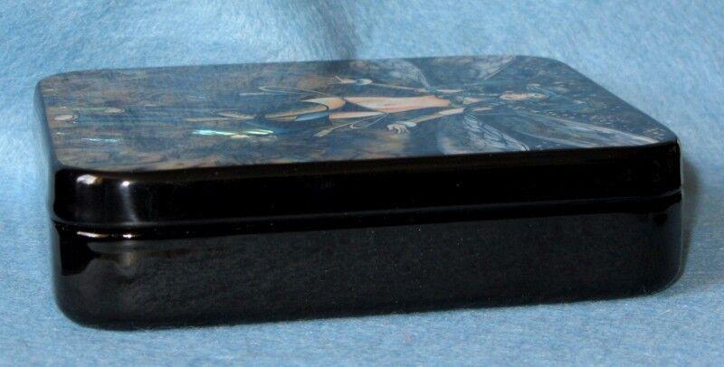 Ruso charol joyero singular mano pintado shell shell shell papel azul manga f5fcd0
