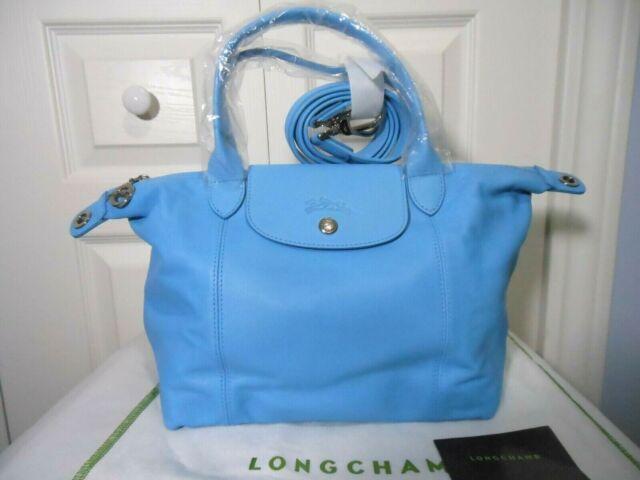 Longchamp Le Pliage Cuir Leather Top Handle Tote Shoulder Bag Cornflower