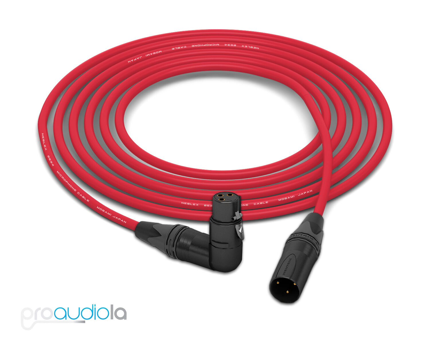 Mogami 2534 Quad Cable   Neutrik Gold 90º XLR-F to XLR-M   rot 25 Feet 25'
