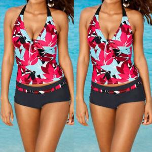 USA-Women-Tankini-Sets-Sporty-with-Boy-Shorts-Bikini-Swimsuit-Bathing-Swimwear