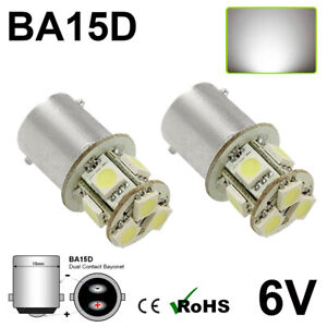 2x-6V-6-Volt-8-SMD-5050-LED-Lampe-GLB206-BA15D-5W-Positive-Earth-Negative-Erde-C