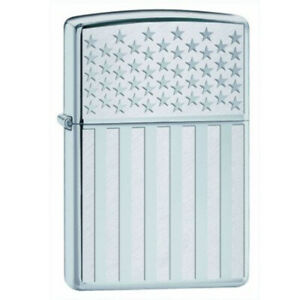 Zippo-Windproof-Lighter-Classic-American-Flag-Polish-Chrome-250MP-AMER-FLAG