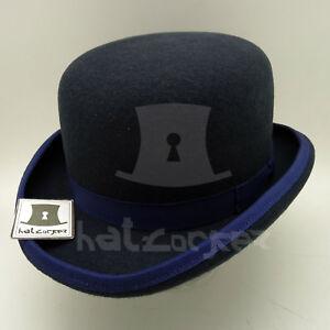 9da3e9050 CLASSIC Wool Felt Men Dura Bowler Top Hat Women Derby Unisex | Navy ...