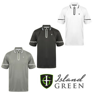 Island-Green-Mens-Golf-Polo-Shirts-Striped-Short-Sleeve-Zip-Placket-IGTS1655