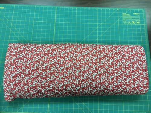 """108"""" Quilt Backing Fabric Red With White Flowers 100/% Cotton by the yard"""