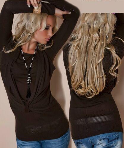 Donna Girly DOUBLE NECK LONG Maglione cascata Pullover 34//36//38 NUOVO TOP MARRONE