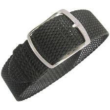 20mm EULIT Kristall Black Tropic Woven Nylon Perlon German Made Watch Band Strap