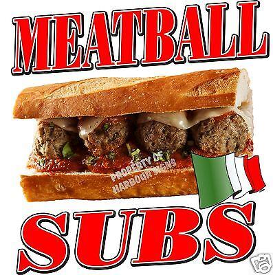 "Meatball Subs Decal 14/"" Concession Food Truck Vinyl Restaurant Menu Sign Sticker"