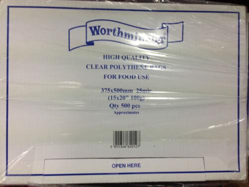 sacs de nourriture 375 x 500mm gratuit 24h 1000 2000 ou 5000 en polyéthylène clair 500