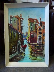 Old-vintage-Italian-Oil-Painting-Expressionist-Venice-scene-60s-signed-Lellketto
