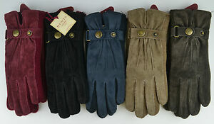 b2368303d7f Image is loading Dents-Womens-Ladies-Suede-Knit-Laura-Gloves-black-