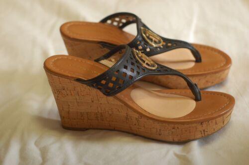 Tommy Hilfiger Black Leather Thong Sandals Cork W… - image 1